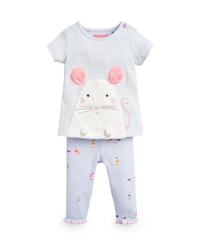 Poppy Mouse Applique Top w/ Matching Leggings, Size 3-24 Months