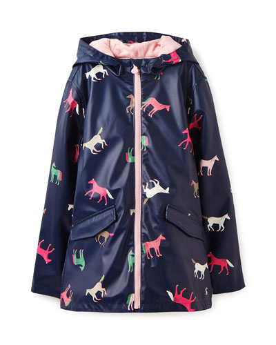 Raindance Waterproof Horse-Print Coat, Size 2-12