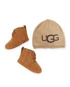 UGG Neumel Suede Boots w/ Logo Beanie, Baby/Kids