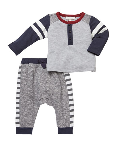 Baseball Tee w/ Knit Pants, Size 3-24 Months