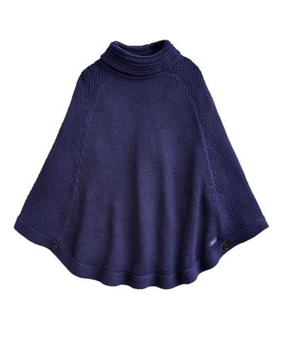 Girl's Tess Knit Turtleneck Poncho, Size XS-L