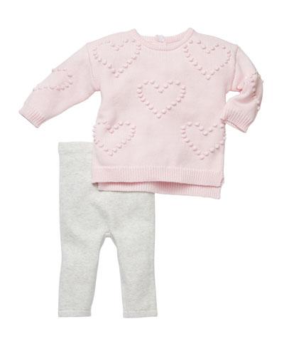 Heart Pompom Sweater w/ Leggings, Size 3-6 Months