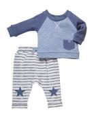 Miniclasix Two-Tone Tee w/ Striped Star-Patch Pants, Size