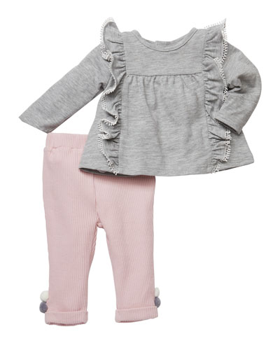 Ruffle Knit Top w/ Ribbed Leggings, Size 3-24 Months