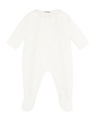 Velour Lace Trim Footie Pajamas, Size 1-12 Months