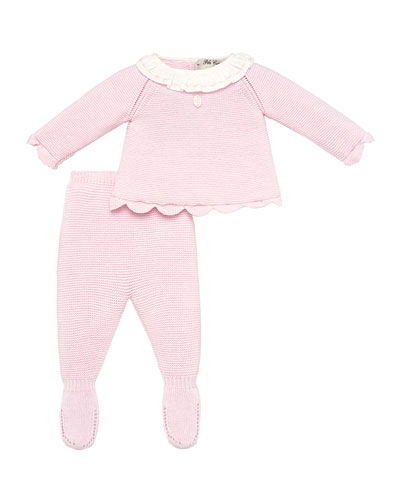 Ruffle Collar Knit Top w/ Footed Leggings, Size 1-6 Months