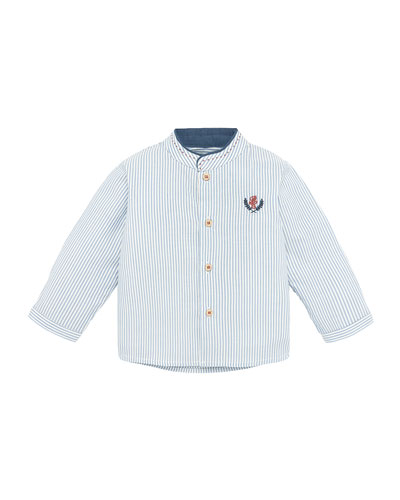 Mandarin Collar Striped Shirt, Size 12M-3