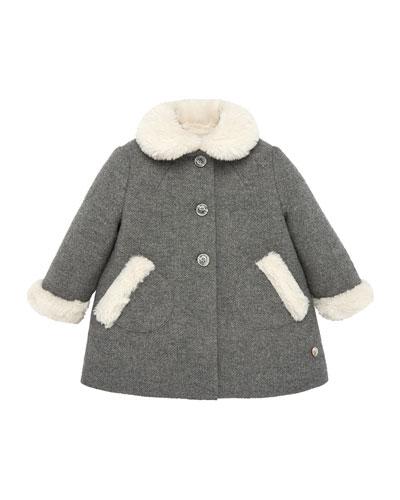 Faux Fur Trim Wool Coat, Size 2-6
