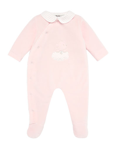 Velour Bear Embroidered Footie Pajamas, Size 1-12 Months