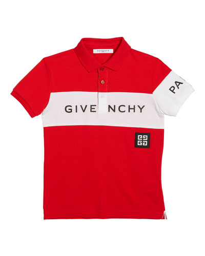 Boy's Colorblock Logo Polo Shirt, Size 4-10