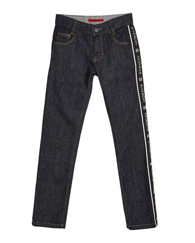 Boy's Logo Trim Denim Jeans, Size 4-10
