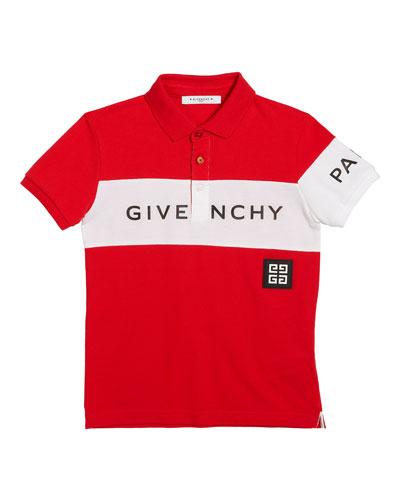 Boy's Colorblock Logo Polo Shirt, Size 12-14
