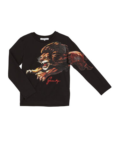 Boy's Long-Sleeve Lion Graphic Tee, Size 4-10
