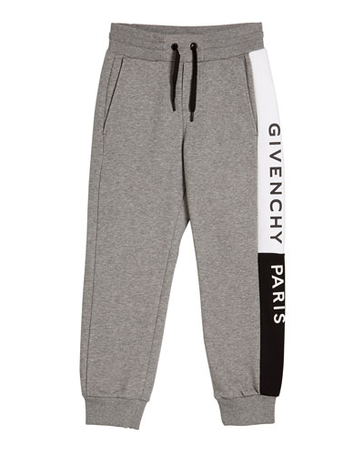 Boy's Heathered Logo Trim Joggers, Size 4-10
