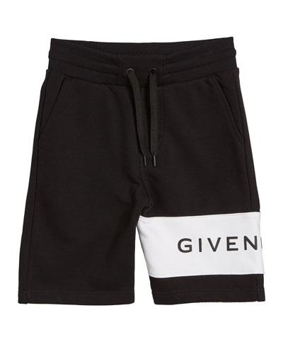 Boy's Drawstring Sweat Shorts w/ Logo Detail, Size 12-14