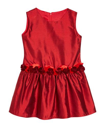 Girls' Silk Drop-Waist Dress, Size 2T-10