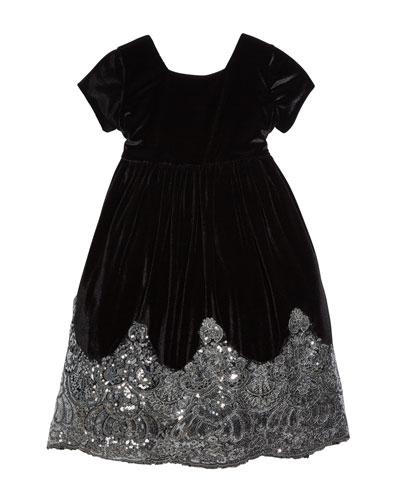 Sparkle-Hem Velvet Tie-Back Holiday Dress, Size 4-6