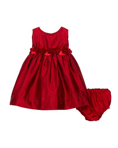 Sleeveless Silk Baby Dress with Rose Sash & Bloomers, Size 12-24 Months