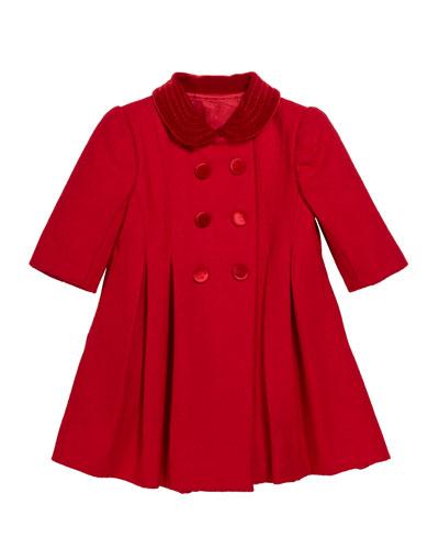 Velvet Collar Wool Coat, Size 12-24 Months