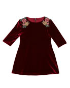 Isabel Garreton 3/4-Sleeve Beaded Velvet Dress, Burgundy, Size