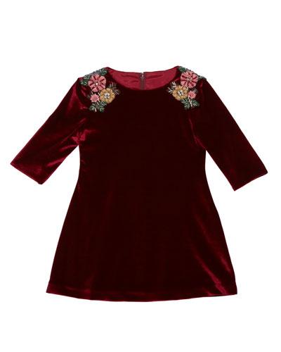 3/4-Sleeve Beaded Velvet Dress, Burgundy, Size 4-6