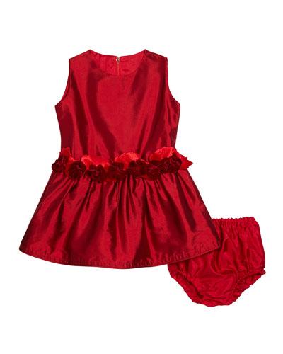 Girls' Silk Drop-Waist Dress, Size 12-24 Months