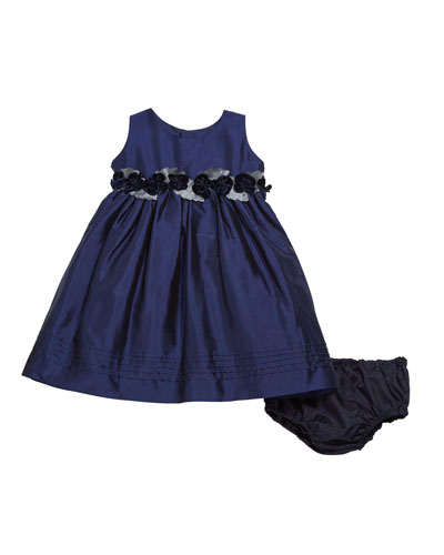 Sleeveless Taffeta Dress w/ Rose Detailing, Size 12-24 Months