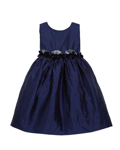 Sleeveless Silk Dress with Velvet Rose Detailing, Size 4-3T