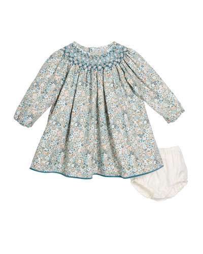 Hand-Smocked Floral Bishop Dress w/ Solid Bloomers, Size 6-12 Months