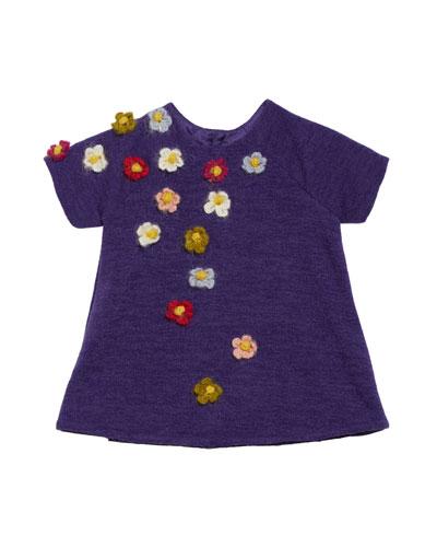 Flower Crocheted Knit Shift Dress, Size 6-18 Months