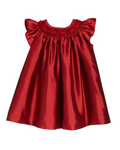 Girls' Hand-Smocked Taffeta Bishop Dress, Size 3M-9M