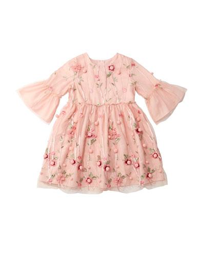 3D Flower Pompom Embroidered Dress, Size 10-12