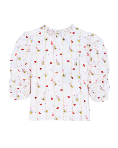Dionne Floral Ruched-Sleeve Button-Back Top, Size 4-6