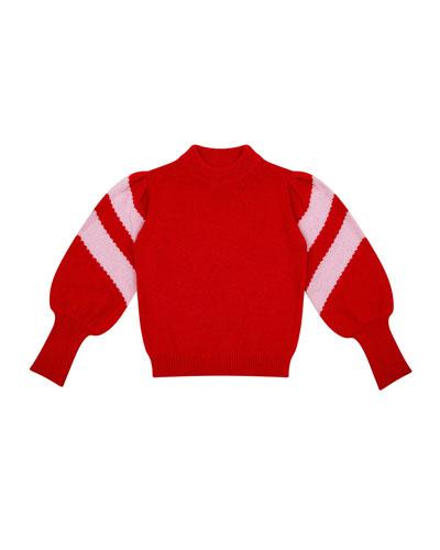 Stella Mock-Neck Balloon-Sleeve Sweater, Size 8-12