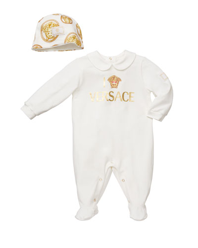 Logo Footie Pajamas w/ Medusa Emoji Baby Hat, Size 0-9 Months
