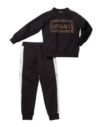 Girl's Studded Logo Sweatshirt w/ Matching Sweatpants, Size 8-14