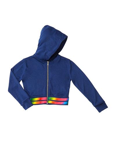 Girl's Hooded Zip-Up Jacket w/ Rainbow Hem, Size S-XL