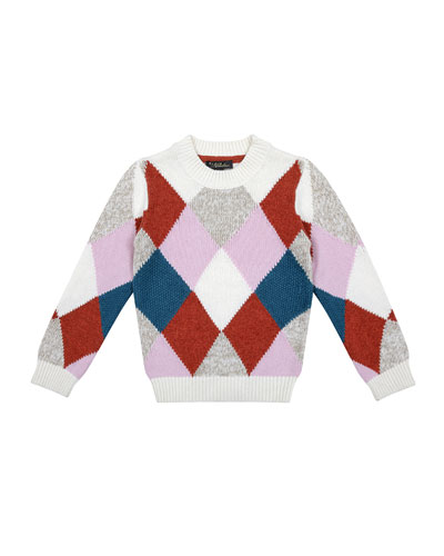 Meredith Multicolored Argyle Knit Sweater, Size 8-12