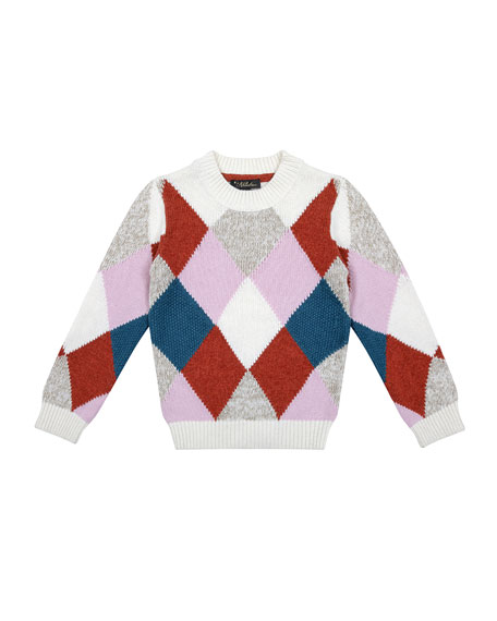 Velveteen Meredith Multicolored Argyle Knit Sweater, Size 8-12