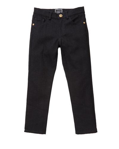 Boy's Denim Jeans w/ Barocco Print Back Pockets, Size 4-6