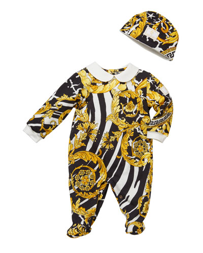Barocco Print Footie Pajamas w/ Matching Baby Hat, Size 0-9 Months