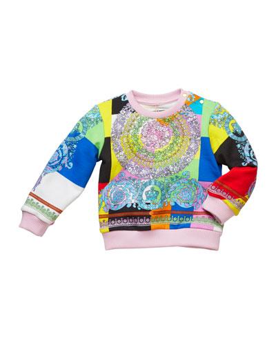 Girl's Pastel Barocco Print Sweatshirt, Size 12M-3