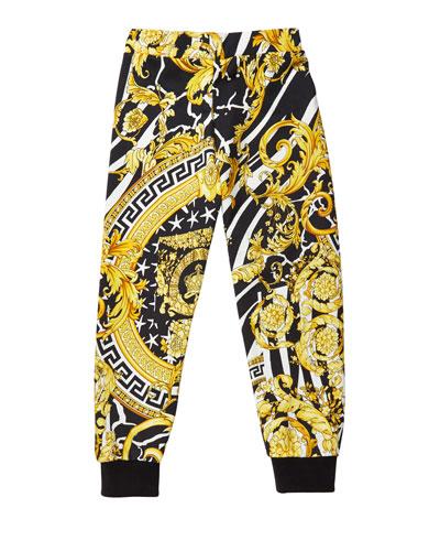 Boy's Barocco Print Sweatpants, Size 4-6