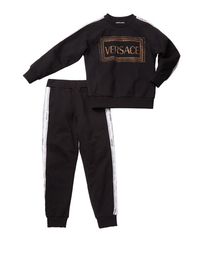 Girl's Studded Logo Sweatshirt w/ Matching Sweatpants, Size 4-6