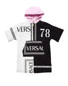 Versace Girl's Hooded Colorblock Logo Sweatshirt Dress, Size