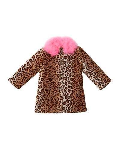 Nala Leopard Print Faux Fur Coat, Size 10-12