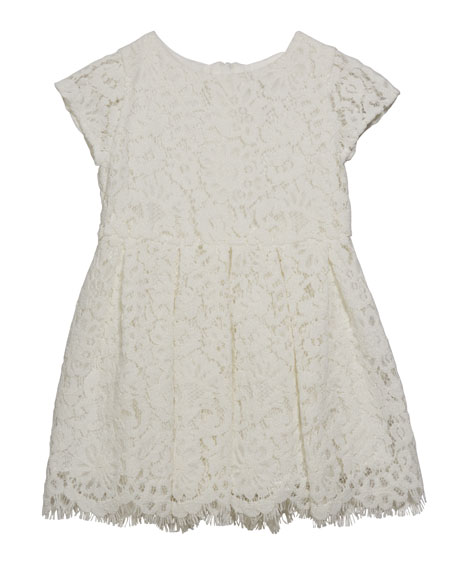 Charabia Girl's Cap Sleeve Lace Dress, Size 6-24 Months