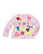Versace Girl's Graffiti Logo Print T-Shirt, Size 12M-3