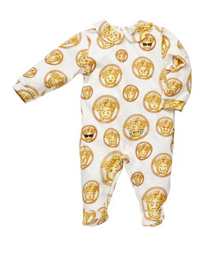 Medusa Emoji Print Footie Pajamas, Size 0-9 Months