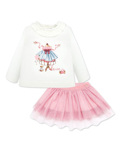 Girl's Ruffle Trim Graphic Tee w/ Tulle Skirt, Size 6-36 Months